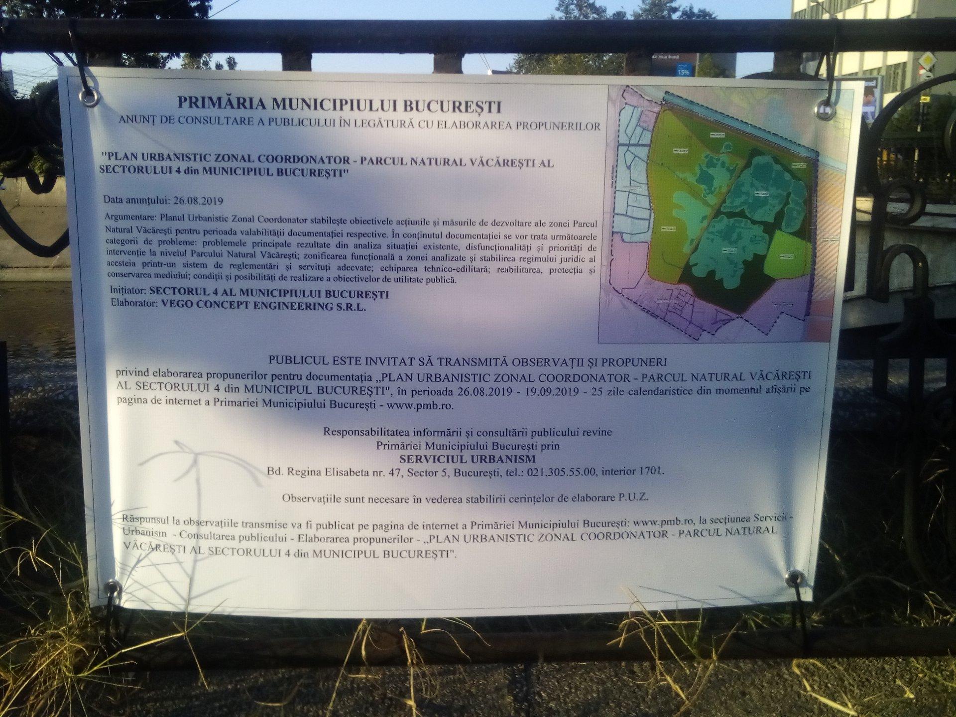 """PMB a demarat consultarea publicului cu privire la """"Planul Urbanistic Zonal Coordonator - Parcul Natural Văcărești al Sectorului 4""""."""