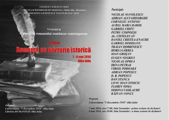 Colocviul Romanului Românesc, Alba-Iulia, 7-8 mai 2016