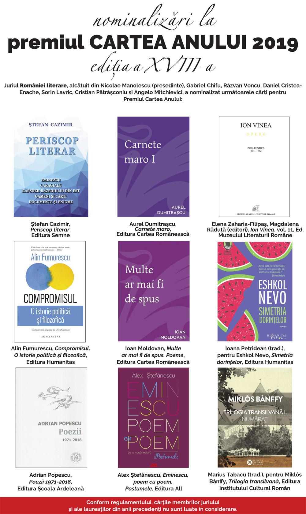 Nominalizările la premiul Cartea Anului 2019 ediția XVIII-a